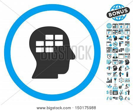 Schedule Thinking pictograph with bonus calendar and time management images. Vector illustration style is flat iconic bicolor symbols, blue and gray colors, white background.