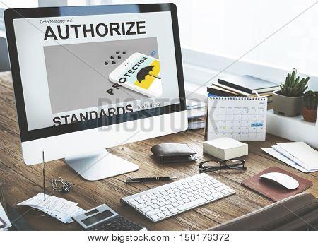 Business Technology Authorized Computer Concept