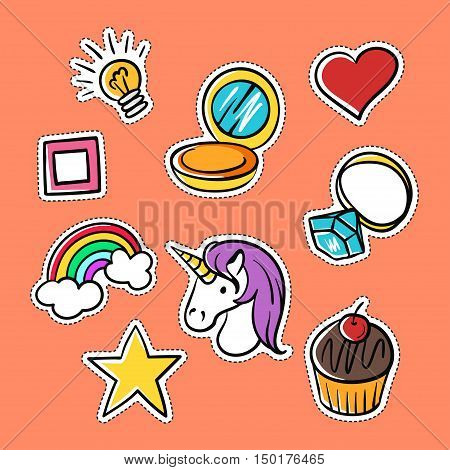 Vector set of fashionable patches: star, heart, ring, rainbow. Modern doodle pop art sketch pins and badges. Hand drawn cute and funny fashion stickers kit. Isolated on orange background.