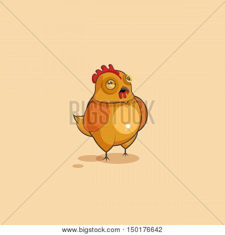 Vector Stock Illustration isolated Emoji character cartoon Hen squints and looks suspiciously sticker emoticon for site, infographics, video, animation, websites, e-mails, newsletters, reports, comics
