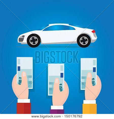 car bidding auction hand offer money cash concept business symbol vector
