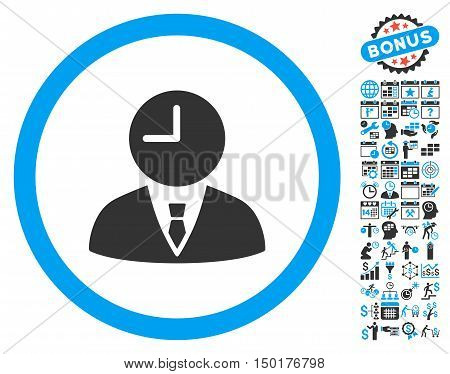 Time Manager pictograph with bonus calendar and time management icon set. Vector illustration style is flat iconic bicolor symbols, blue and gray colors, white background.