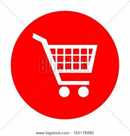 Shopping Cart Sign. White Icon On Red Circle.