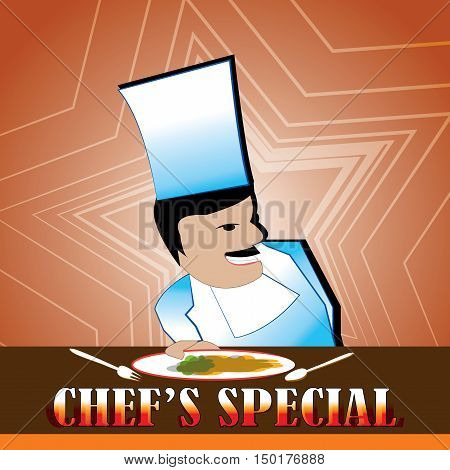 Poster- offering a chef's special menu for a delicious meal.