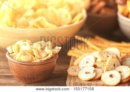 Tasty snacks prepared for super bowl party, close up view