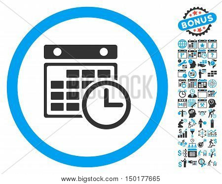 Timetable pictograph with bonus calendar and time management icon set. Vector illustration style is flat iconic bicolor symbols, blue and gray colors, white background.