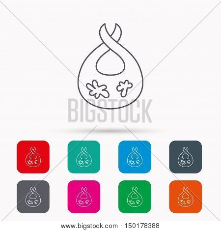 Bib with dirty spots icon. Baby clothes sign. Feeding wear symbol. Linear icons in squares on white background. Flat web symbols. Vector