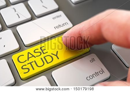 Close Up view of Male Hand Touching Yellow Case Study Computer Button. 3D.