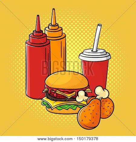 Vector hand drawn pop art illustration of ketchup and mustard, burger, chicken legs, and soda cup. Fast food. Retro style. Hand drawn sign. Illustration for print, web.