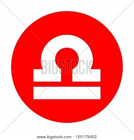 Libra Sign Illustration. White Icon On Red Circle.