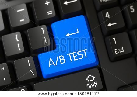 Modernized Keyboard with the words AB Test on Blue Key. AB Test Key on Computer Keyboard. AB Test Concept: Black Keyboard with AB Test, Selected Focus on Blue Enter Button. 3D Illustration.