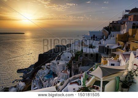 Sunset in Oia village on Santorini island Greece