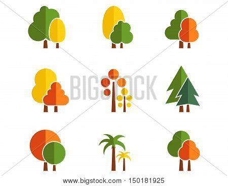 set of isolated autumn tree icons on flat design style