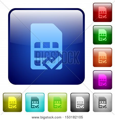 Set of SIM card accepted color glass rounded square buttons