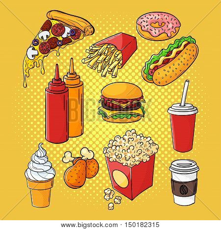 Vector hand drawn pop art set of fast food. Illustration of ketchup and mustard, burger, chicken legs, soda cup, pizza and hot dog. Retro style. Hand drawn sign. Illustration for print, web.