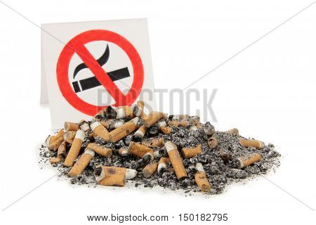 Sign and nicotine sigarette on a white background