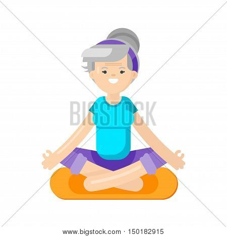 Vector flat style illustration of senior woman doing yoga. Grandmother in lotus position. Isolated on white background. Healthy lifestyle.