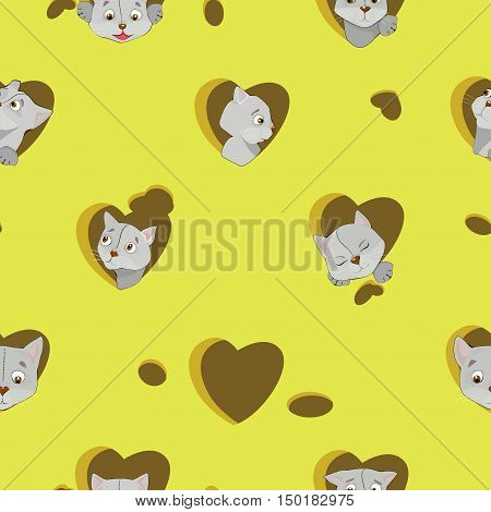 Cartoon Grey Cats In The Heart On Cheese Seamless Pattern