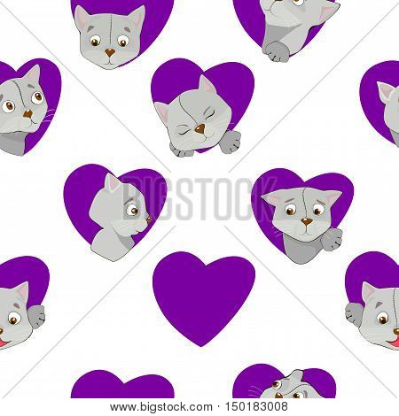 Cartoon Grey Cats In The Heart Seamless Pattern