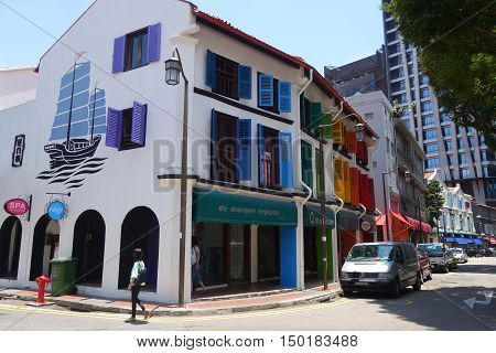 Street View Of Amoy Street In Singapore