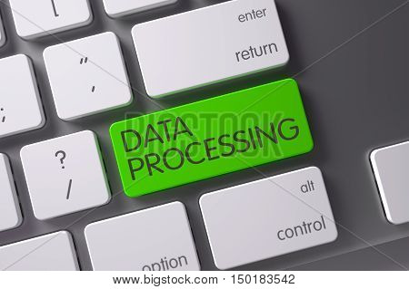 Data Processing Concept Modern Keyboard with Data Processing on Green Enter Keypad Background, Selected Focus. 3D Render.