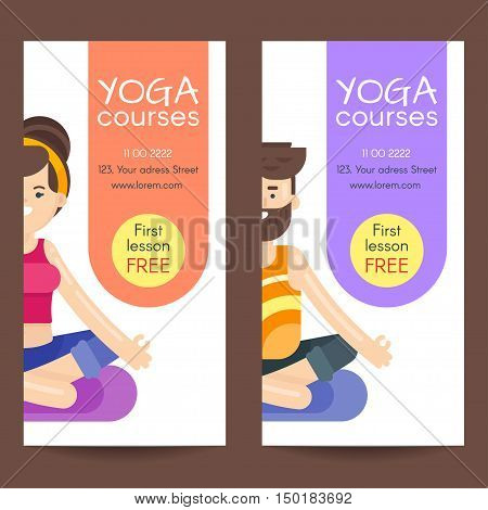 Vector flat style design template for yoga flyer. Woman and bearded man in lotus position. Flyers for a yoga studio.