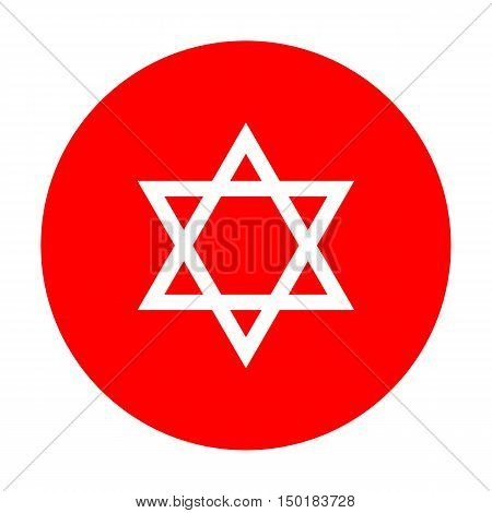 Shield Magen David Star. Symbol Of Israel. White Icon On Red Circle.
