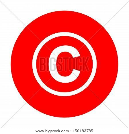 Copyright Sign Illustration. White Icon On Red Circle.