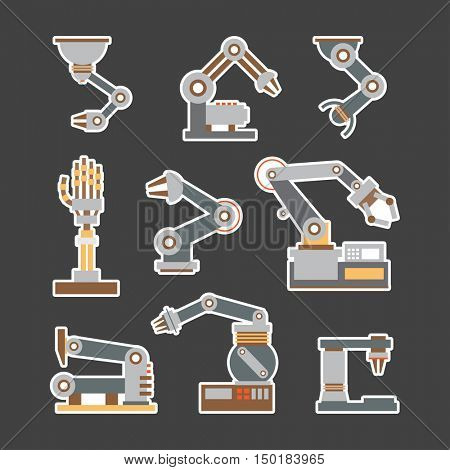 Set Robotic arm manufacture technology industry assembly mechanic flat decorative icons set isolated vector illustration. mechanical arm collector. machine arm robot for manufacture