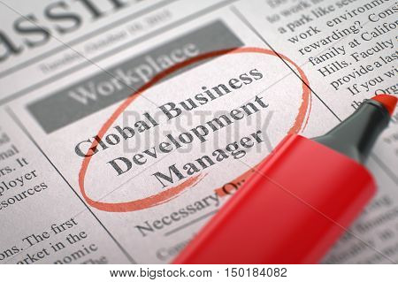 Newspaper with Jobs Section Vacancy Global Business Development Manager. Blurred Image with Selective focus. Job Search Concept. 3D Rendering.
