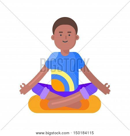 Vector flat style illustration of afro american man doing yoga. Boy in lotus position. Isolated on white background.