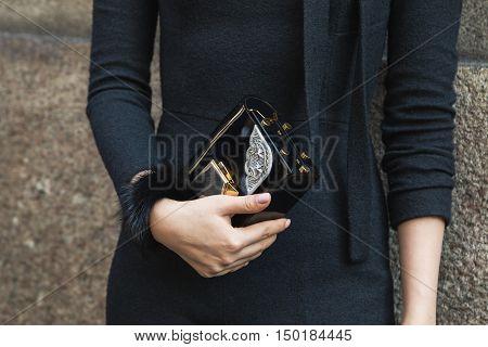 Ddetail Of Bag During Milan Fashion Week