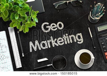 Geo Marketing on Black Chalkboard. 3d Rendering. Toned Image.