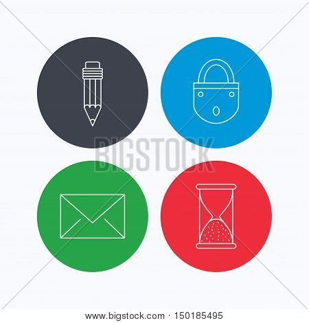 Mail envelope, pencil and lock icons. Hourglass linear sign. Linear icons on colored buttons. Flat web symbols. Vector