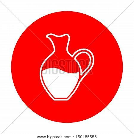 Amphora Sign. White Icon On Red Circle.
