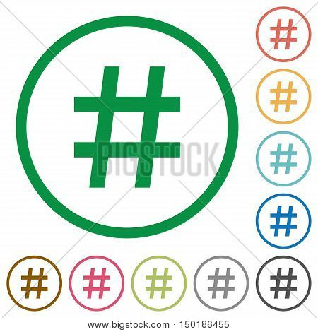 Set of hash tag color round outlined flat icons on white background
