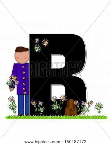 Alphabet Children Picking Flowers B