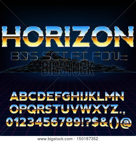 Blue Yellow Gold Glossy Metal Font Set for Retro Sci-Fi 80's 90's Style Title Designs, Vector Collection