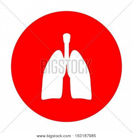 Human Organs Lungs Sign. White Icon On Red Circle.