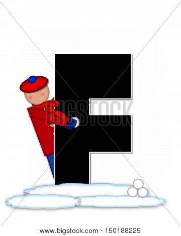 Alphabet Children Snow Fight F