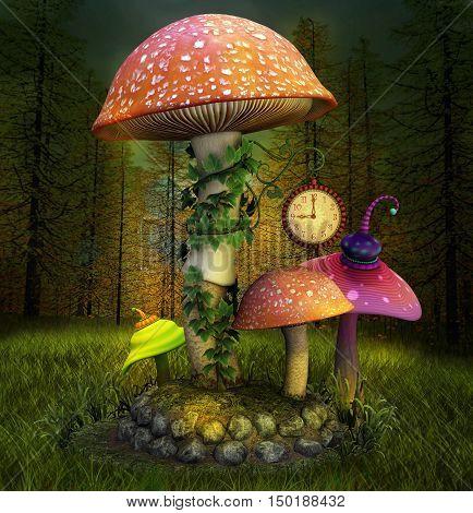 Elves enchanted mushrooms place - 3D illustration