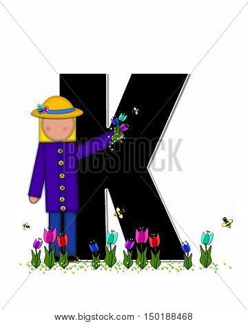 Alphabet Children Spring Tulips K