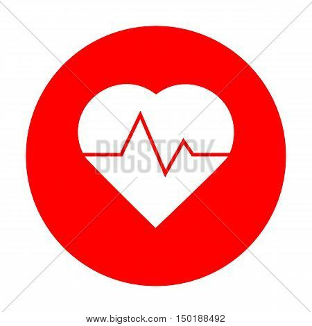 Heartbeat Sign Illustration. White Icon On Red Circle.