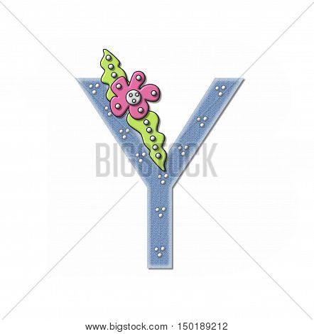 Alphabet Denim And Flowers Y