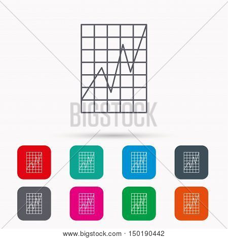 Chart curve icon. Graph diagram sign. Demand growth symbol. Linear icons in squares on white background. Flat web symbols. Vector