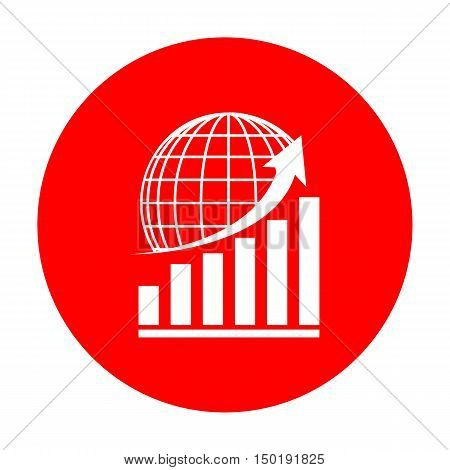 Growing Graph With Earth. White Icon On Red Circle.