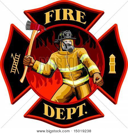Firefighter Inside Maltese Cross Symbol