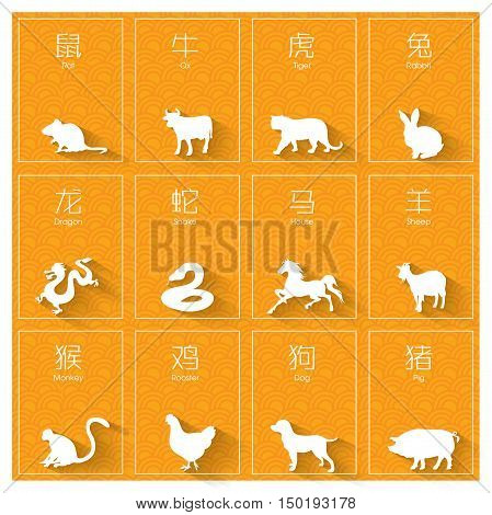 12 Chinese zodiac signs: rat, ox, tiger, rabbit, dragon, snake, horse, sheep, monkey, rooster, dog and pig.