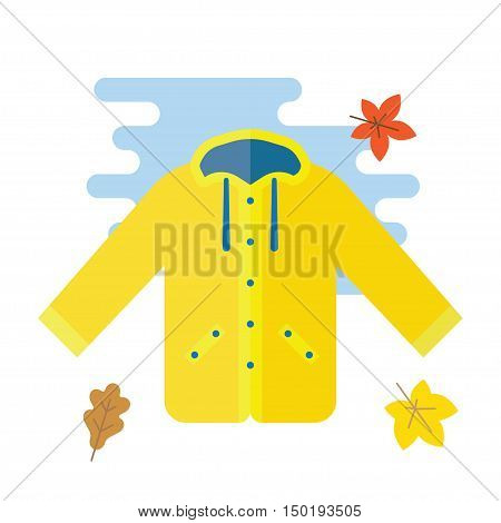 Yellow raincoat jacket flat style vector illustration. Autumn or spring yellow raincoat waterproof clothes
