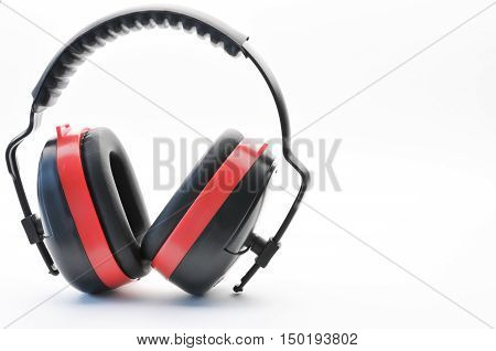 Earmuff, protection noise pollution, protect ear, on white background, isolated